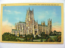 Linen Postcard St. John Cathedral New York C Teich New c.1934