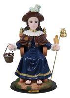 "Large 19""H Roman Catholic Santo Nino De Holy Infant Of Atocha On Throne Statue"