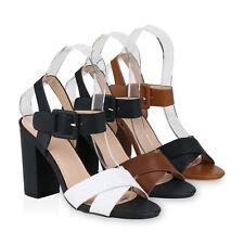 Damen Sandaletten Riemchensandaletten Blockabsatz High Heels 830362 Schuhe