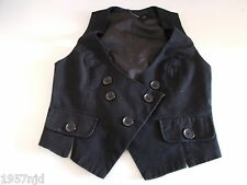 Women's Black Self Stripe Textured V Neck Waistcoat Vest by Atmosphere Size 8