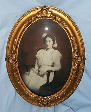 Antique Ornate Gold Gilt Wood & Gesso Frame Convex Glass Photo Woman