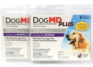 2 Dog MD Maximum Defense Plus Flea & Tick Topical Dogs 45 To 88 Lb 3 M Supply