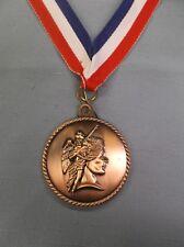 "acheivement medal 2"" dia bronze with patriotic neck ribbon"