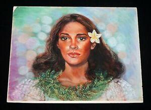 "1994 Hawaii Color Pastel Portrait Painting ""Hawaiian Woman"" by Sherburne (Mod)"