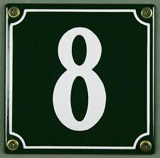 """Grüne Emaille Hausnummer """"8"""" 12x12 cm Hausnummernschild sofort lieferbar Schild"""