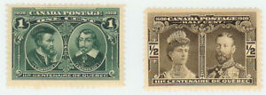 CANADA STAMP - SERIE OF 2X QUEBEC TRI CENTENARY 1908  - Mint MH