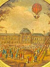 Miniature & Peinture & Montgolfière & Départ des Tuileries & XIX -ème Siècle