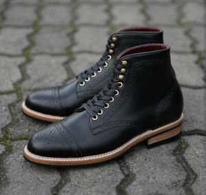 Handmade Men's Ankle High Leather Boots, Men's Black Cap Toe Brogue Lace Up Boot
