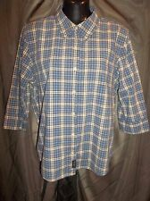 ABERCROMBIE & FITCH 3/4 Sleeve Button Front PLAID Shirt Top Jr. Women's Size L