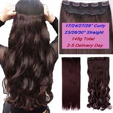 100% Natural One Piece 5Clips On In Full Head Hair Extension Brown Blonde Black