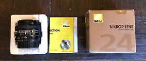 Near Mint Nikon AF Nikkor 24mm f2.8D Wide Angle Lens with Box from Japan