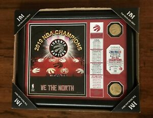 Toronto Raptors 2019 NBA Champions Banner with 2 Bronze Coins-Ltd Edition-New