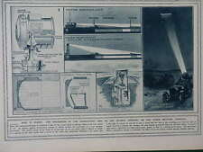 1915 SEARCHLIGHT DIAGRAMS; LADY PAGET'S NURSES USKUB; LOOS WWI WW1 DOUBLE PAGE