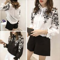 Women Work Office Loose Long Sleeve Shirt Blouse Casual Print Floral Tops Gift &