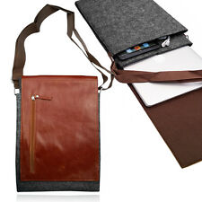 Smart Felt Sleeve with BROWN LEATHER VERTICAL FLAP Case Cover for Apple Macbook