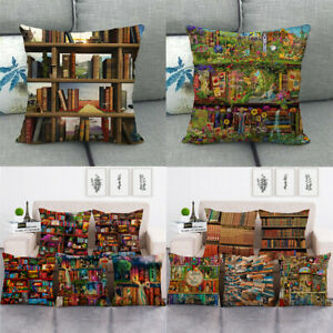 Library Mysterious Bookshelf Elf Books Pillow Case Cushion Cover Home Decorative