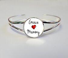 Personnalisé enfants nom aime momie sur un plaqué argent bracelet bangle cadeau