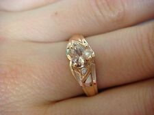 0.75 CT T.W. HEART SHAPE MORGANITE AND 2 DIAMONDS 14K ROSE GOLD FRIENDSHIP RING