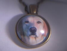 "AWSOME! Blonde Lab Pendant & 18"" Necklace  "" NEW """