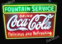 "New 32"" Coca-Coke-Cola Soda Drink Fountain Service REAL NEON SIGN BEER BAR LIGHT"