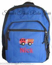 Personalized Fire truck firefighter fireman backpack school book bag NEW