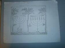 Gravure 19° Vision du prophéte Zacharie chandelier 7 branches Judaica