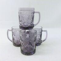 Cristal D'Arques Amethyst Pressed Glass Mugs Set of 4