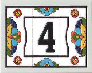 "6"" x 3"" 15cm x 7.5cm Tiles Genuine Spanish Ceramic Tile Door Numbers and Frames"