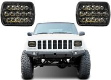 (2) 7x6 LED Black Headlights For 1986-1995 Jeep Wrangler 1984-2001 Cherokee New
