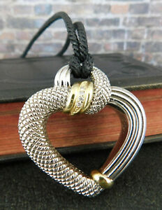 Judith Ripka JR Two 925 Sterling & 18K Gold Diamond Open Heart Pendant Necklace