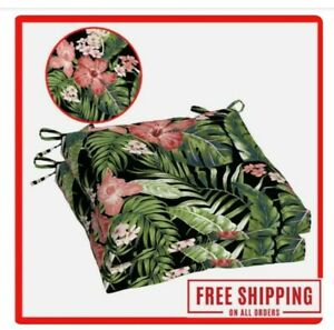 """Better Homes & Gardens Black Tropical 19"""" x 18"""" Outdoor Seat Pad, 2 Pack"""