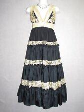 BASIX II Black 100% Silk Cocktail w/Ivory Laced Sleeveless Dress SZ 4 NEW