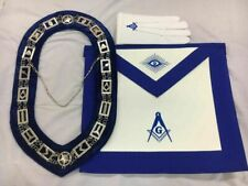 Blue Lodge Chain Collar,Master Mason Apron Square and Compass Gloves Set