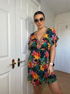 1163 MANTARAY MULTI COLOURED PRINTED DRESS WITH V NECK