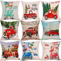 Merry Christmas Xmas Car Gift Throw Pillow Case Cover Cushion Home Décor