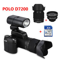 "POLO D7200 33MP 1080P 3"" Digital Camera DSLR Camcorder W/3Lens+Sportlight+32GB"