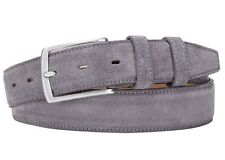 Italian Leather Belt  - Real Suede grey 34'' (avail 34-46) 85 cm