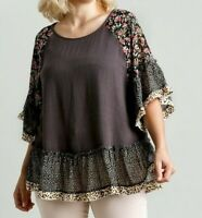 New Umgee Top 2X Gray Linen Mixed Floral Animal Bell Sleeve Boho Peasant Plus