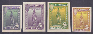 Spain Galvez 759/764 MNH. 1937 Vinebre Civil War Locals, 4 diff.