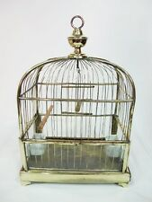 ANTIQUE BRASS BIRD CAGE C1880'S WITH CERAMIC FEEDERS