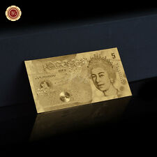 WR UK £5 Pounds Banknotes  Pure Gold Plated Great British Pound Note Collection