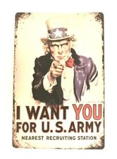 Uncle Sam Tin Sign Poster I Want You for the U.S. Army Recruitment Recruiting