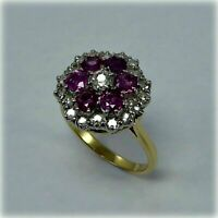 2.00Ct Round Cut Red Ruby Cluster Wedding Engagement Ring 14K Yellow Gold Finish