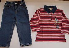 Lote niño: pantalón vaquero azul y polo manga larga Mickey Mousse. Talla 2 años
