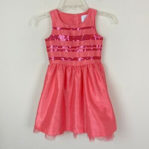Gymboree Girls Dress Size 5 Coral Pink Sequins Sleeveless Tulle Party Formal