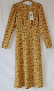 WAREHOUSE Womens Mustard Yellow Vintage Floral Party Dress Size 6 NEW