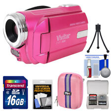 Vivitar DVR-508 HD Digital Video Camera Camcorder with Video Light Kit (Pink)