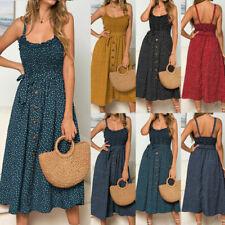 Women Sleeveless Polka Dot Beach Dress Ladies Stretch Holiday Sundress Size 6-16
