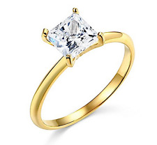 1 Ct Princess Cut Solitaire Diamond Engagement Ring in Solid 14K Yellow Gold