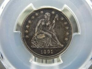 """1891 """"P"""" Seated Liberty Quarter 25c PCGS AU Detail East Coast Coin & Collectable"""
